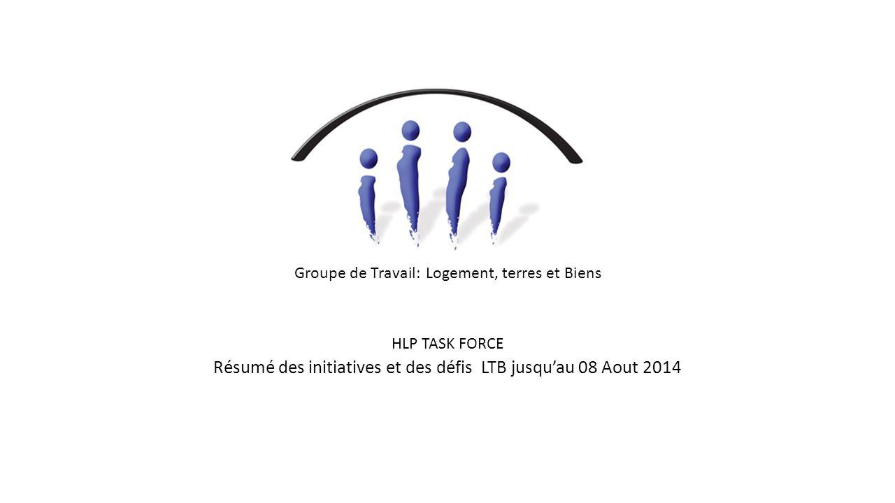 Groupe de Travail: Logement, terres et Biens HLP TASK FORCE Résumé des initiatives et des défis LTB jusqu'au 08 Aout 2014