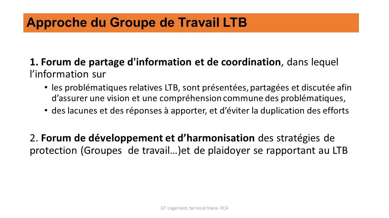 Approche du Groupe de Travail LTB 1.
