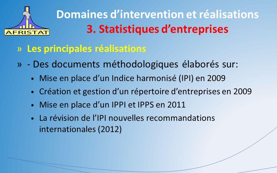 Domaines d'intervention et réalisations 3. Statistiques d'entreprises »Les principales réalisations »- Des documents méthodologiques élaborés sur: Mis