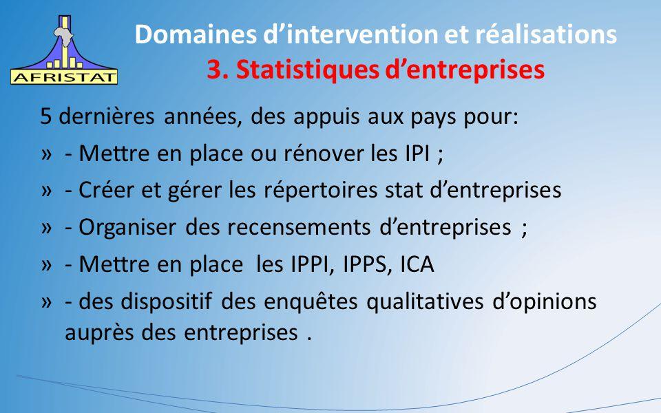 Domaines d'intervention et réalisations 3. Statistiques d'entreprises 5 dernières années, des appuis aux pays pour: »- Mettre en place ou rénover les