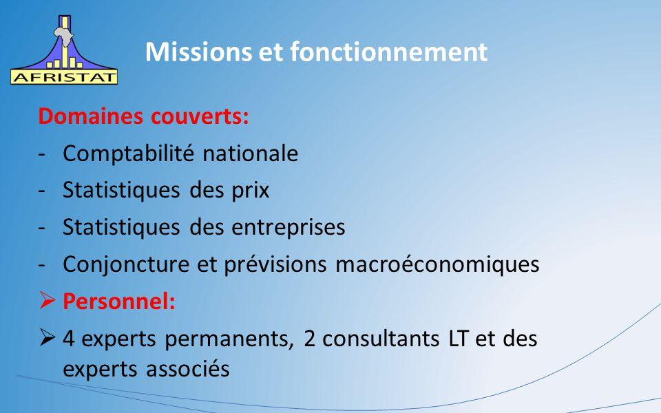 Missions et fonctionnement Domaines couverts: -Comptabilité nationale -Statistiques des prix -Statistiques des entreprises -Conjoncture et prévisions