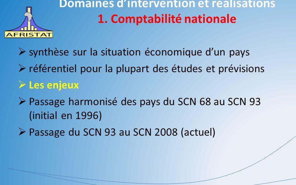 Domaines d'intervention et réalisations 1. Comptabilité nationale  synthèse sur la situation économique d'un pays  référentiel pour la plupart des é