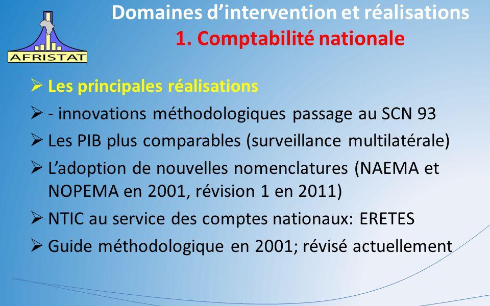 Domaines d'intervention et réalisations 1. Comptabilité nationale  Les principales réalisations  - innovations méthodologiques passage au SCN 93  L