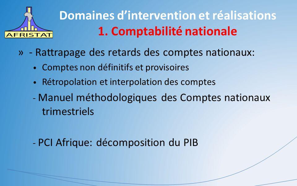Domaines d'intervention et réalisations 1. Comptabilité nationale »- Rattrapage des retards des comptes nationaux: Comptes non définitifs et provisoir
