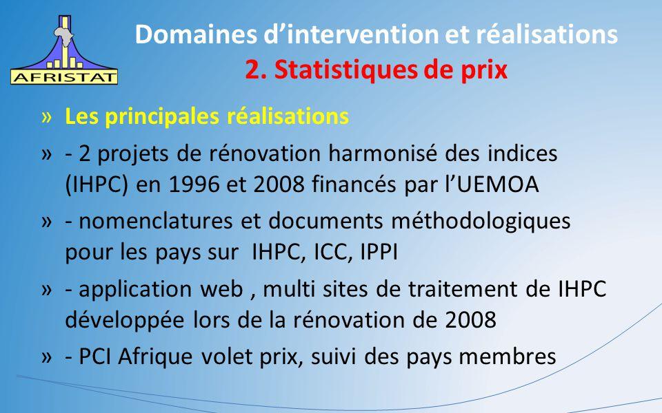 Domaines d'intervention et réalisations 2. Statistiques de prix »Les principales réalisations »- 2 projets de rénovation harmonisé des indices (IHPC)