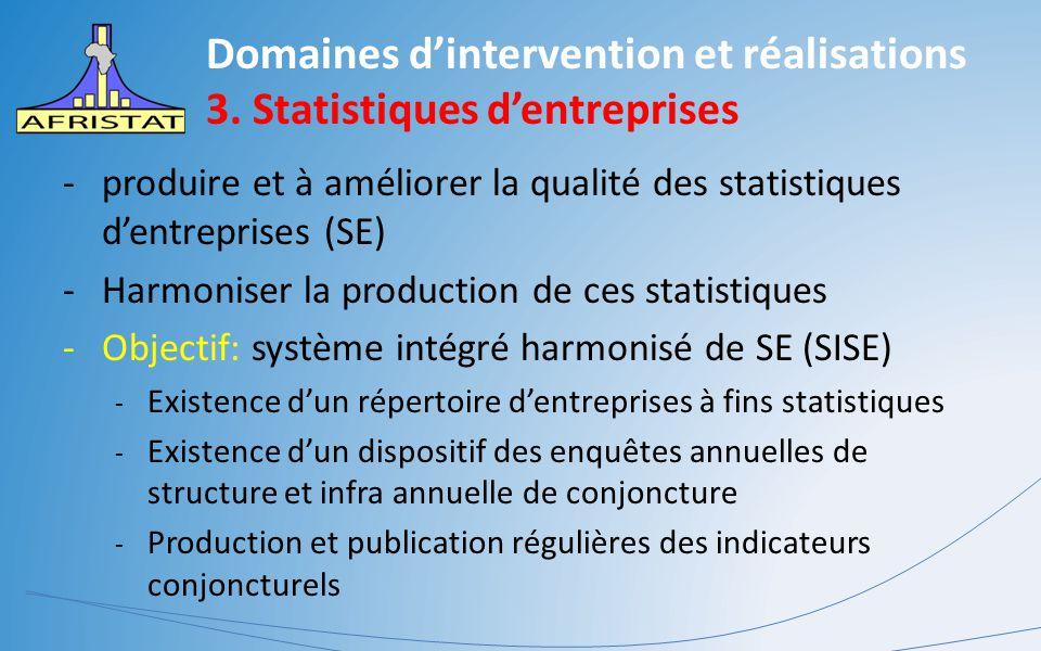 Domaines d'intervention et réalisations 3. Statistiques d'entreprises -produire et à améliorer la qualité des statistiques d'entreprises (SE) -Harmoni