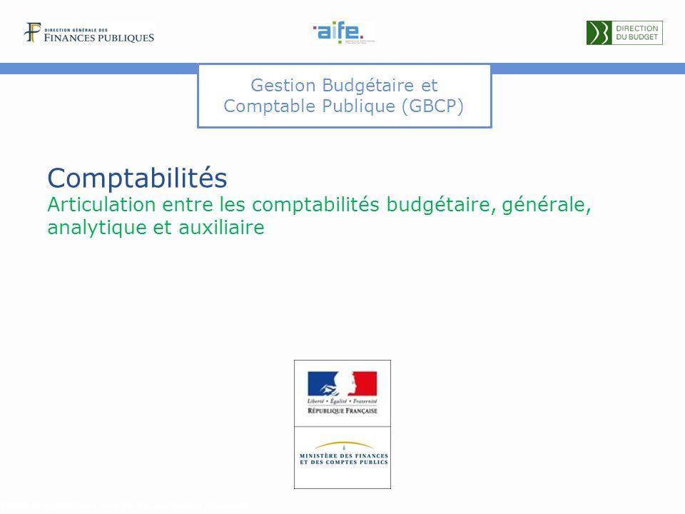 Gestion Budgétaire et Comptable Publique (GBCP) Comptabilités Articulation entre les comptabilités budgétaire, générale, analytique et auxiliaire Détails et explicitations dans les commentaires du document