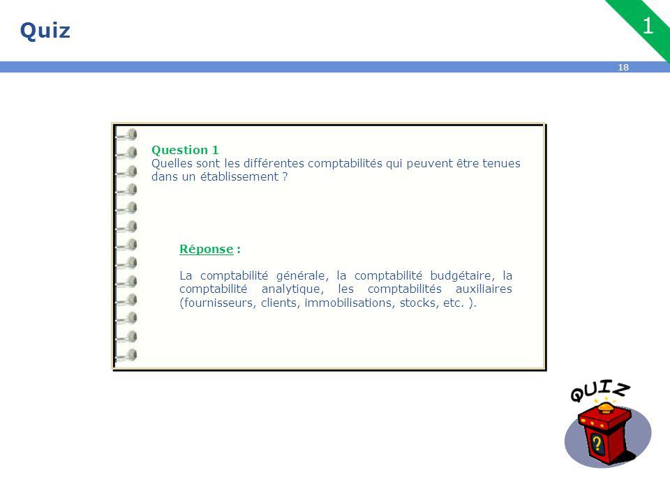 18 Quiz Question 1 Quelles sont les différentes comptabilités qui peuvent être tenues dans un établissement ? Réponse : La comptabilité générale, la c