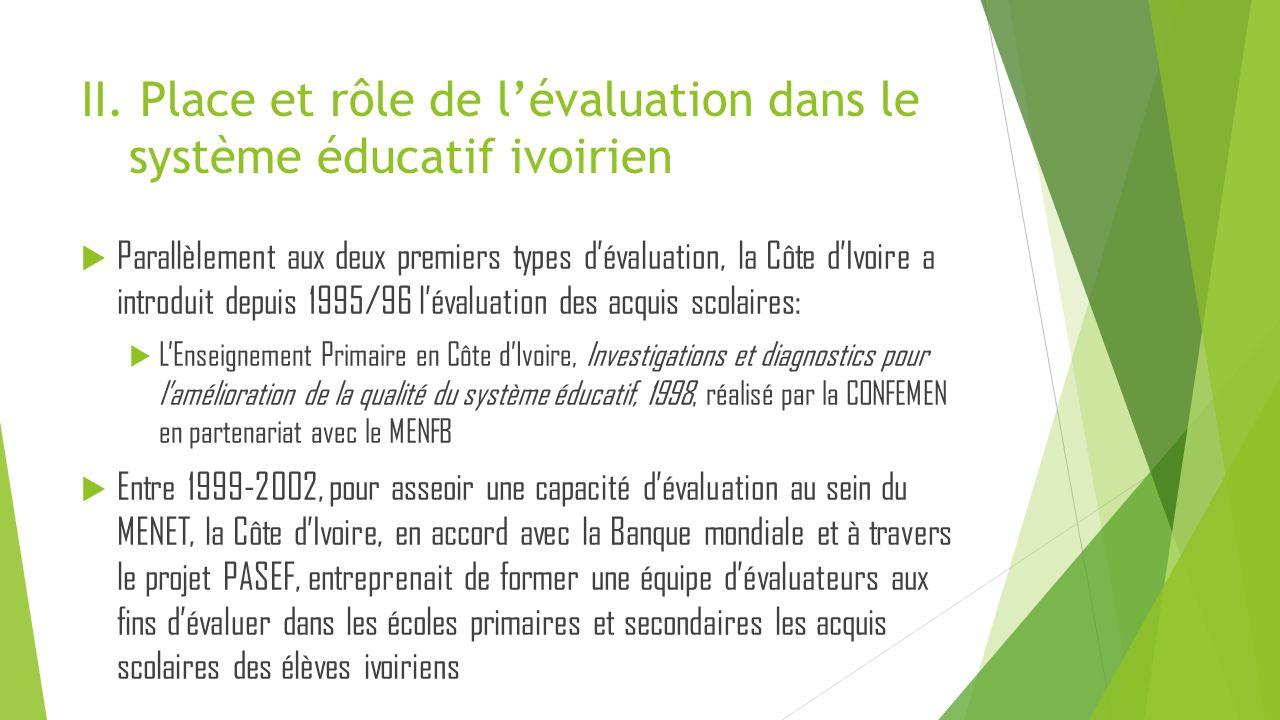 II. Place et rôle de l'évaluation dans le système éducatif ivoirien  Parallèlement aux deux premiers types d'évaluation, la Côte d'Ivoire a introduit