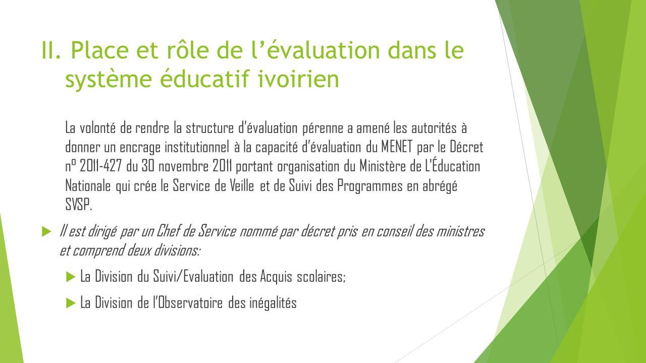 II. Place et rôle de l'évaluation dans le système éducatif ivoirien La volonté de rendre la structure d'évaluation pérenne a amené les autorités à don