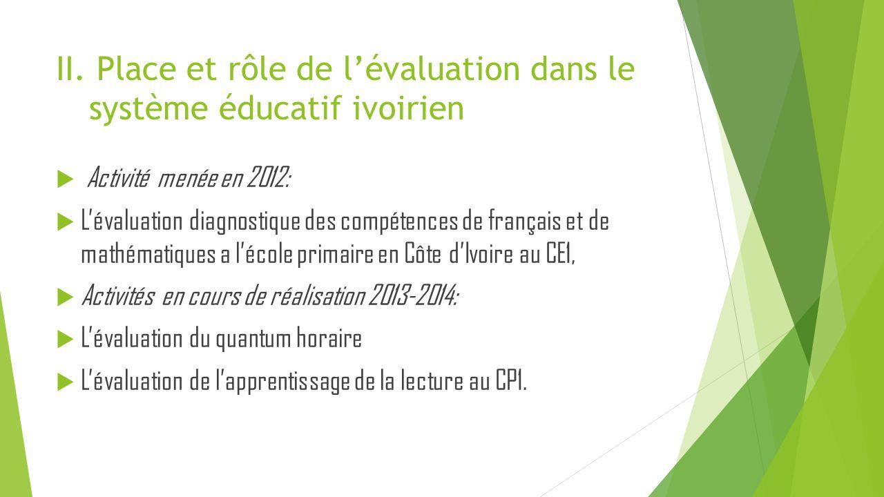 II. Place et rôle de l'évaluation dans le système éducatif ivoirien  Activité menée en 2012:  L'évaluation diagnostique des compétences de français