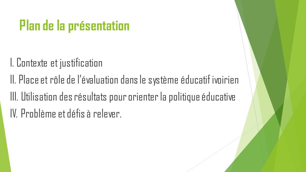 Plan de la présentation I. Contexte et justification II. Place et rôle de l'évaluation dans le système éducatif ivoirien III. Utilisation des résultat