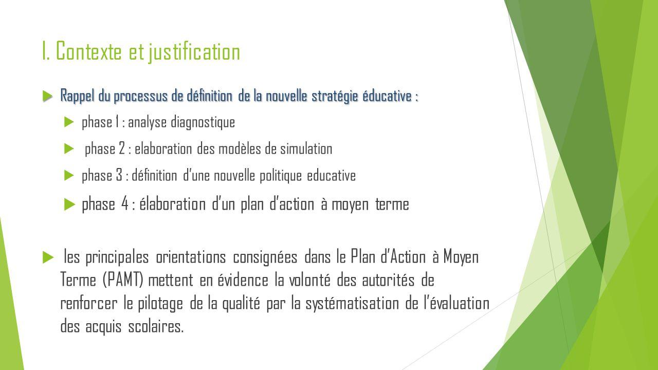 I. Contexte et justification  Rappel du processus de définition de la nouvelle stratégie éducative :  phase 1 : analyse diagnostique  phase 2 : ela