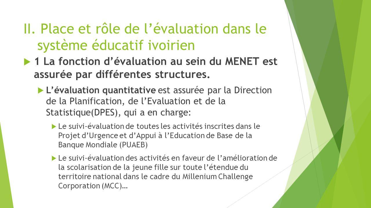 II. Place et rôle de l'évaluation dans le système éducatif ivoirien  1 La fonction d'évaluation au sein du MENET est assurée par différentes structur