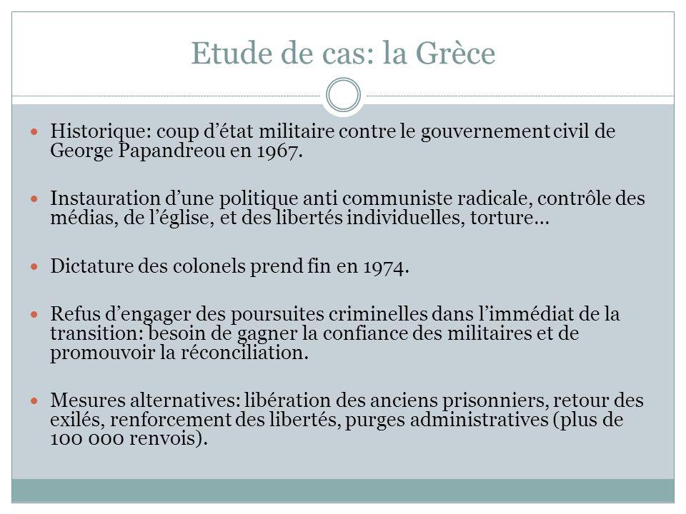 Etude de cas: la Grèce Historique: coup d'état militaire contre le gouvernement civil de George Papandreou en 1967. Instauration d'une politique anti