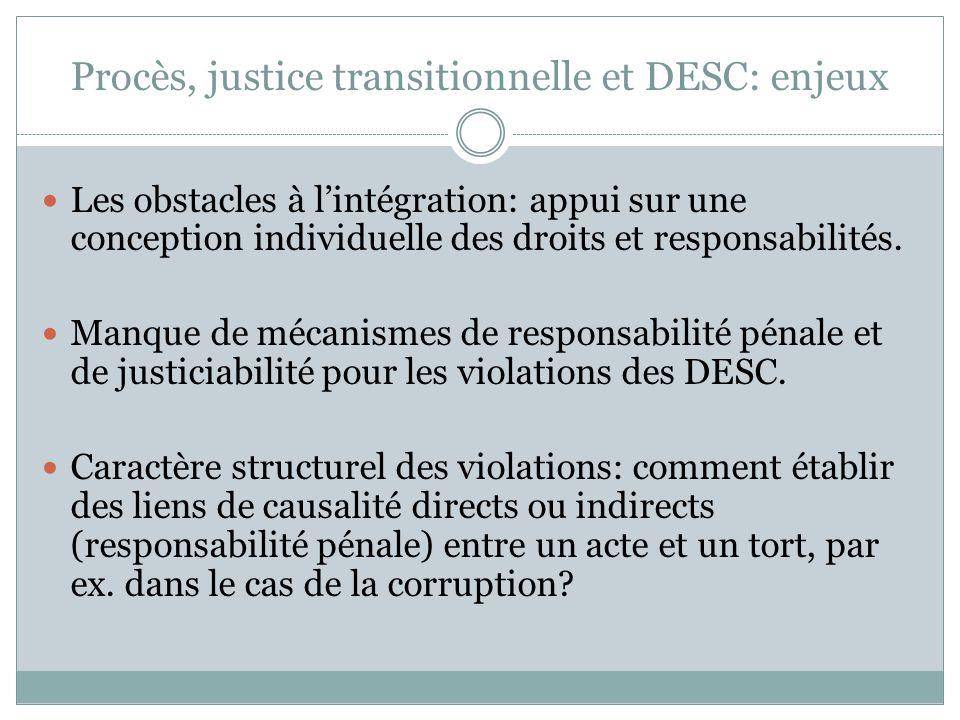 Procès, justice transitionnelle et DESC: enjeux Les obstacles à l'intégration: appui sur une conception individuelle des droits et responsabilités.