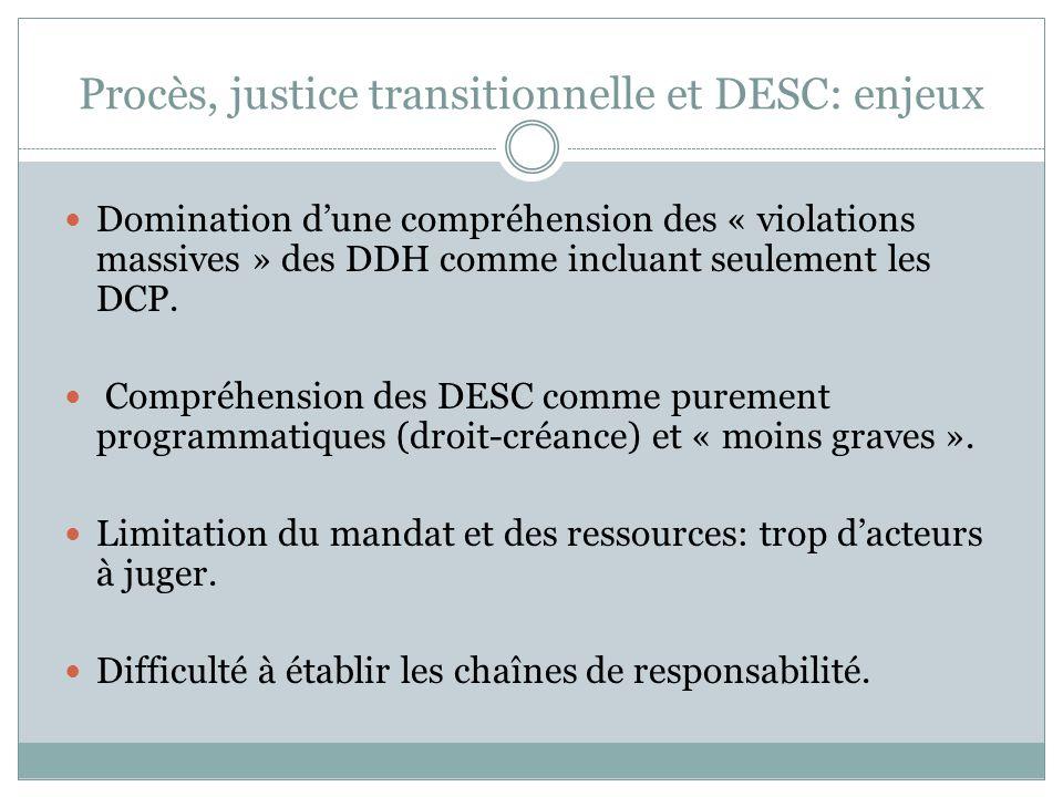 Procès, justice transitionnelle et DESC: enjeux Domination d'une compréhension des « violations massives » des DDH comme incluant seulement les DCP. C