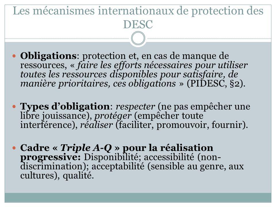 Les mécanismes internationaux de protection des DESC Obligations: protection et, en cas de manque de ressources, « faire les efforts nécessaires pour