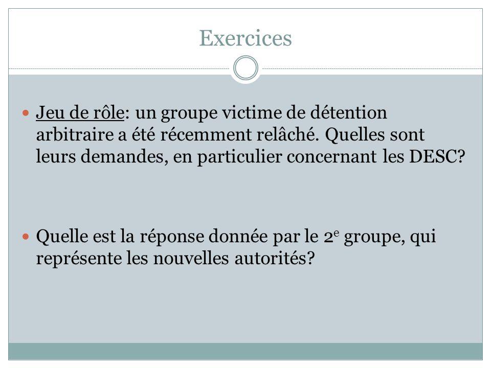 Exercices Jeu de rôle: un groupe victime de détention arbitraire a été récemment relâché. Quelles sont leurs demandes, en particulier concernant les D