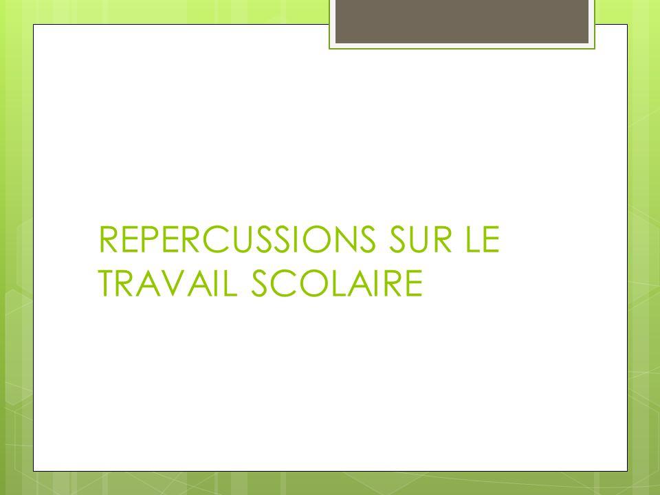 REPERCUSSIONS SUR LE TRAVAIL SCOLAIRE