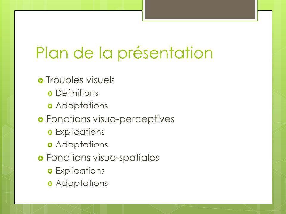 Plan de la présentation  Troubles visuels  Définitions  Adaptations  Fonctions visuo-perceptives  Explications  Adaptations  Fonctions visuo-sp