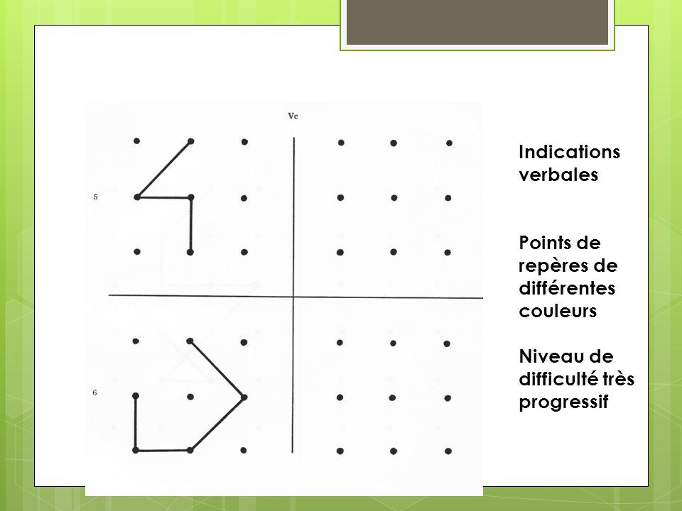 Topologie: Indications verbales Points de repères de différentes couleurs Niveau de difficulté très progressif