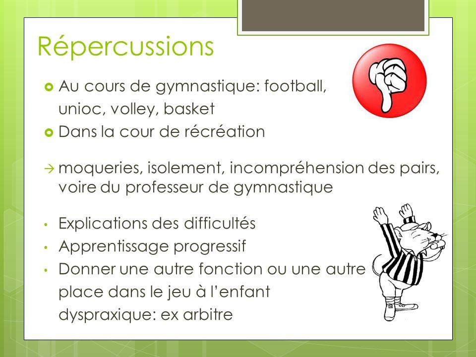 Répercussions  Au cours de gymnastique: football, unioc, volley, basket  Dans la cour de récréation  moqueries, isolement, incompréhension des pair