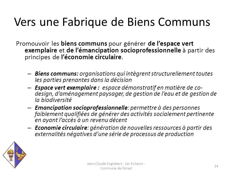 Vers une Fabrique de Biens Communs Promouvoir les biens communs pour générer de l'espace vert exemplaire et de l'émancipation socioprofessionnelle à partir des principes de l'économie circulaire.