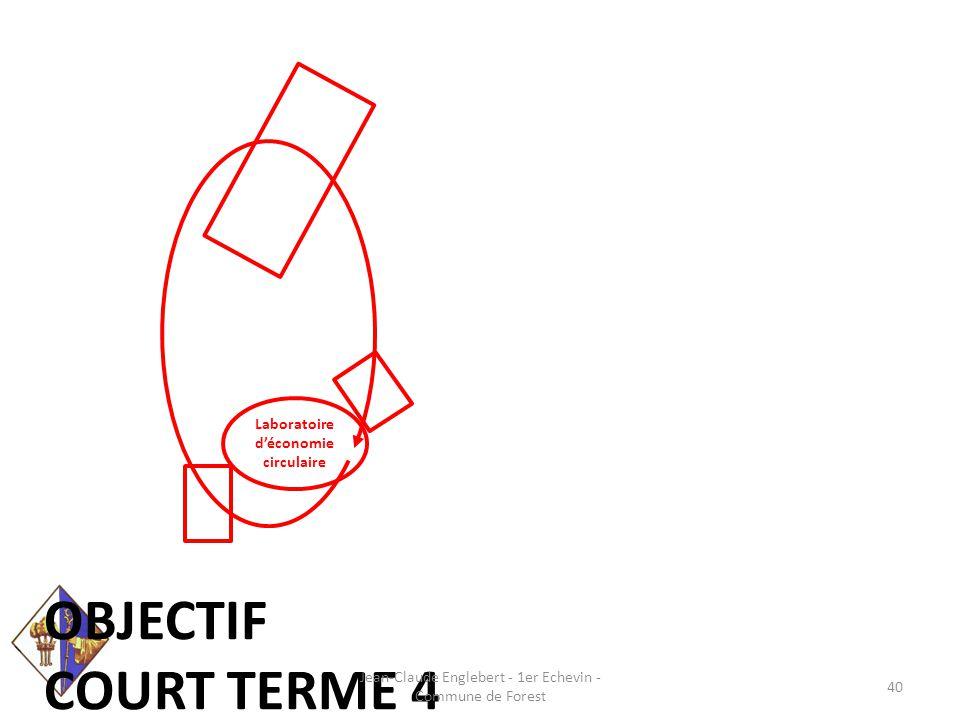 Laboratoire d'économie circulaire OBJECTIF COURT TERME 4 Jean-Claude Englebert - 1er Echevin - Commune de Forest 40