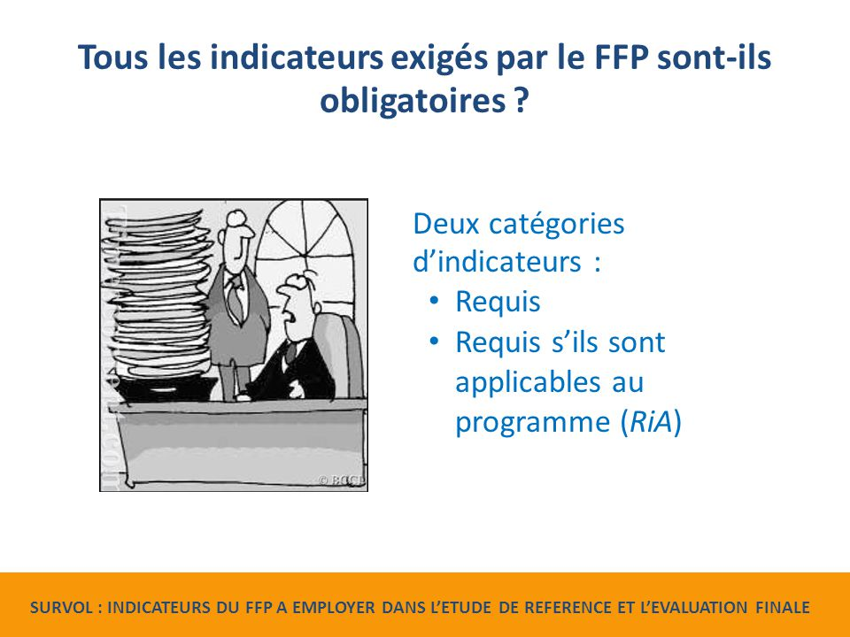 Tous les indicateurs exigés par le FFP sont-ils obligatoires .