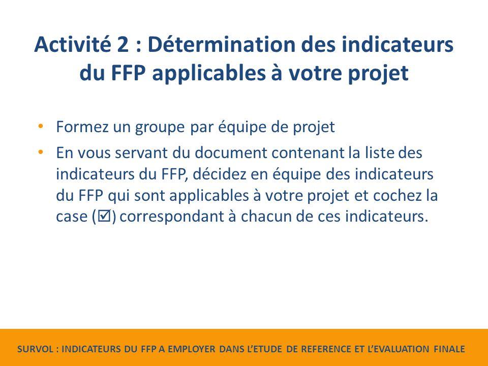 Activité 2 : Détermination des indicateurs du FFP applicables à votre projet Formez un groupe par équipe de projet En vous servant du document contenant la liste des indicateurs du FFP, décidez en équipe des indicateurs du FFP qui sont applicables à votre projet et cochez la case (  ) correspondant à chacun de ces indicateurs.