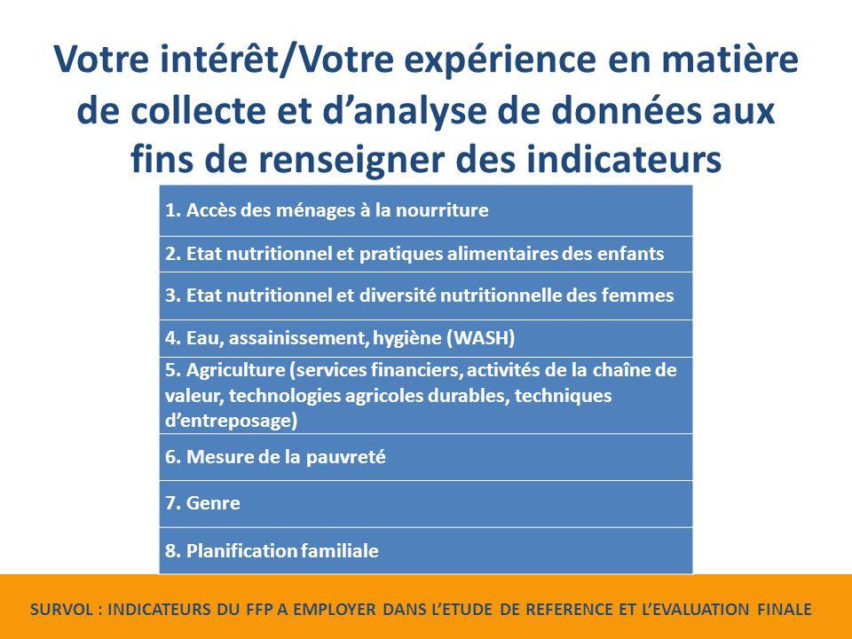 Votre intérêt/Votre expérience en matière de collecte et d'analyse de données aux fins de renseigner des indicateurs 1.