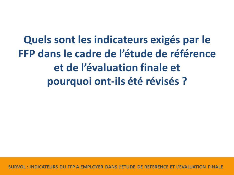 Quels sont les indicateurs exigés par le FFP dans le cadre de l'étude de référence et de l'évaluation finale et pourquoi ont-ils été révisés .