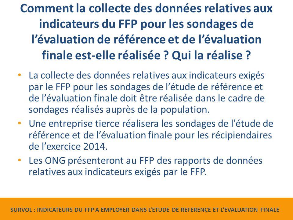 Comment la collecte des données relatives aux indicateurs du FFP pour les sondages de l'évaluation de référence et de l'évaluation finale est-elle réalisée .