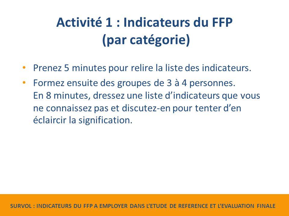 Activité 1 : Indicateurs du FFP (par catégorie) Prenez 5 minutes pour relire la liste des indicateurs.