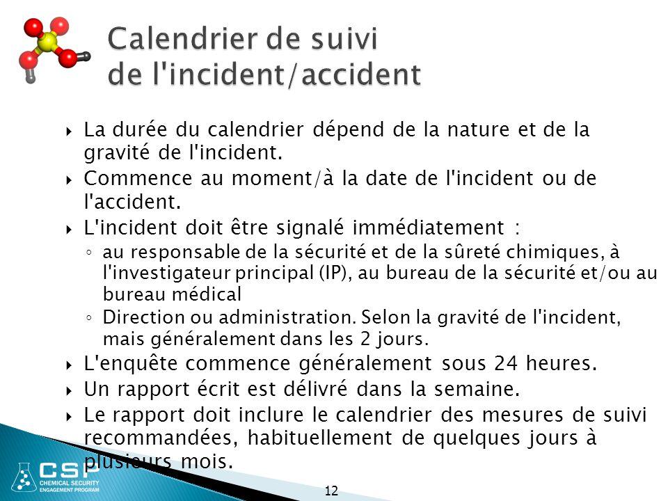 Calendrier de suivi de l incident/accident  La durée du calendrier dépend de la nature et de la gravité de l incident.