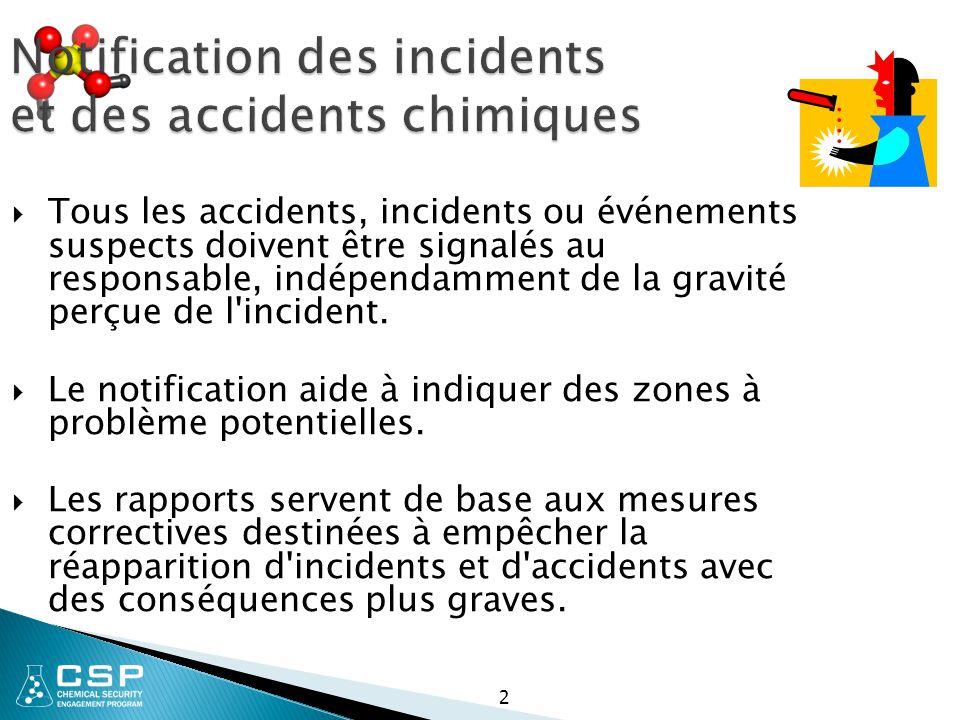 2 Notification des incidents et des accidents chimiques  Tous les accidents, incidents ou événements suspects doivent être signalés au responsable, indépendamment de la gravité perçue de l incident.
