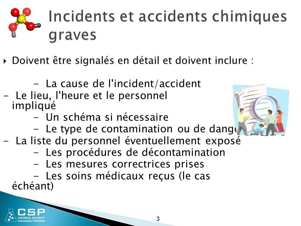 3 Incidents et accidents chimiques graves  Doivent être signalés en détail et doivent inclure : - La cause de l incident/accident - Le lieu, l heure et le personnel impliqué - Un schéma si nécessaire - Le type de contamination ou de danger - La liste du personnel éventuellement exposé - Les procédures de décontamination - Les mesures correctrices prises - Les soins médicaux reçus (le cas échéant)