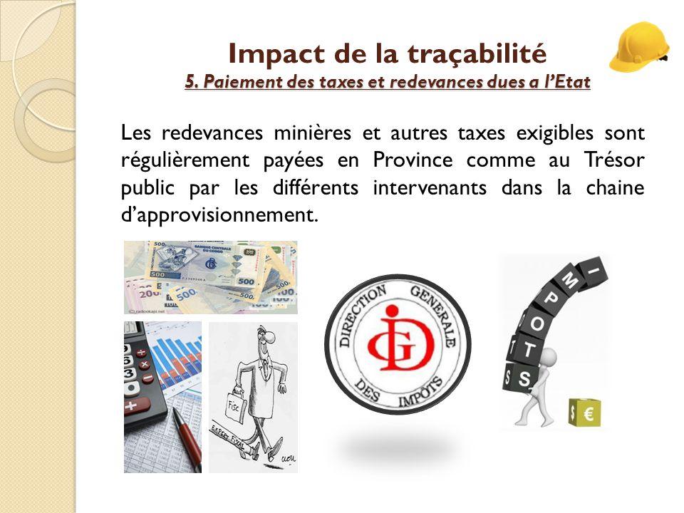 5.Paiement des taxes et redevances dues a l'Etat Impact de la traçabilité 5.