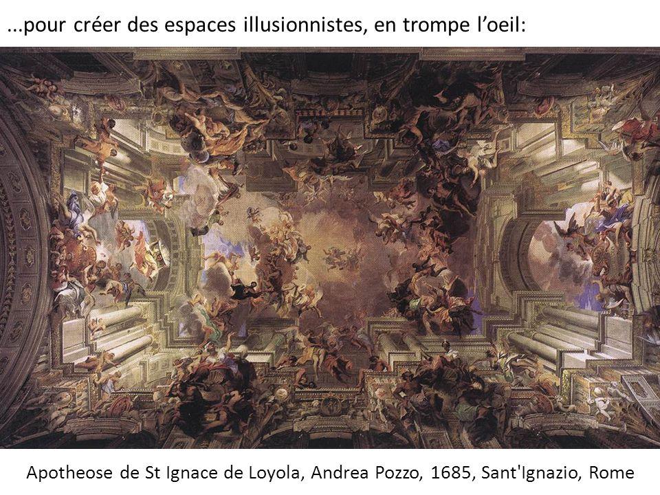 Apotheose de St Ignace de Loyola, Andrea Pozzo, 1685, Sant'Ignazio, Rome...pour créer des espaces illusionnistes, en trompe l'oeil: