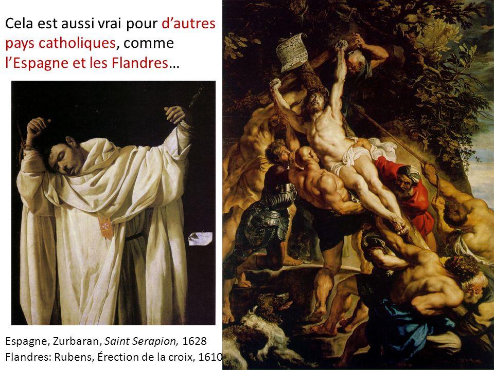 Où s'affirment toutefois des influence locales et des personnalités originales… Celle d'un Pieter Paul Rubens en Flandres, qui montre sa capacité de synthèse: intégrer les corps charnels, musclées d'un Michel-Ange, avec l'éclairage de Caravage, la composition conçue en termes de couleurs et lumières d'un Titien avec la minutie d'un réaliste flamand… Flandres: Rubens, Érection de la croix, 1610