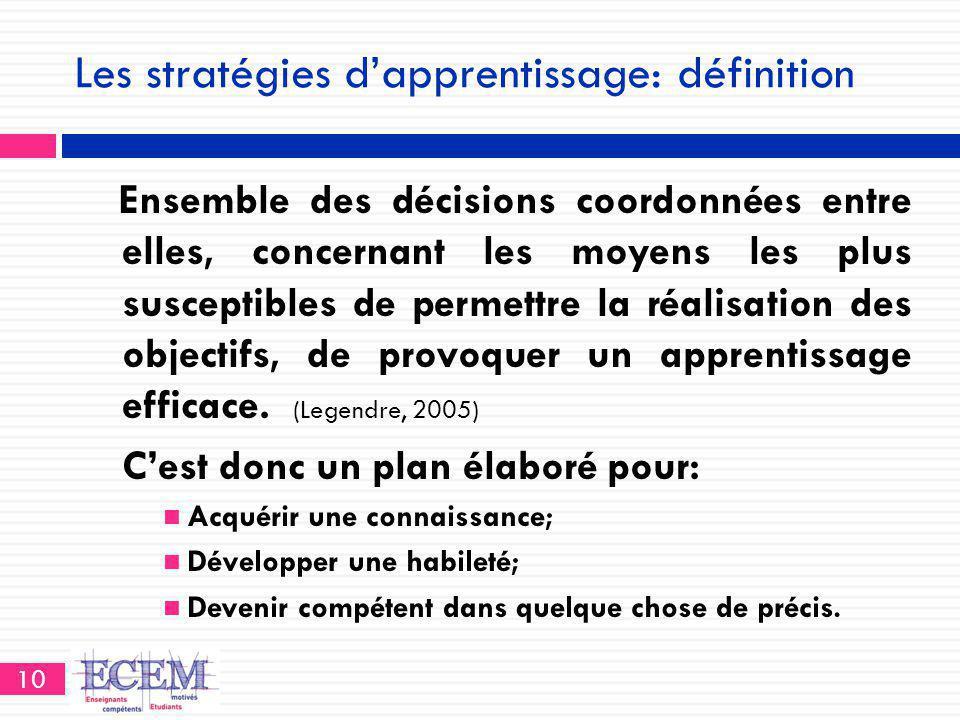 Les stratégies d'apprentissage: définition Ensemble des décisions coordonnées entre elles, concernant les moyens les plus susceptibles de permettre la