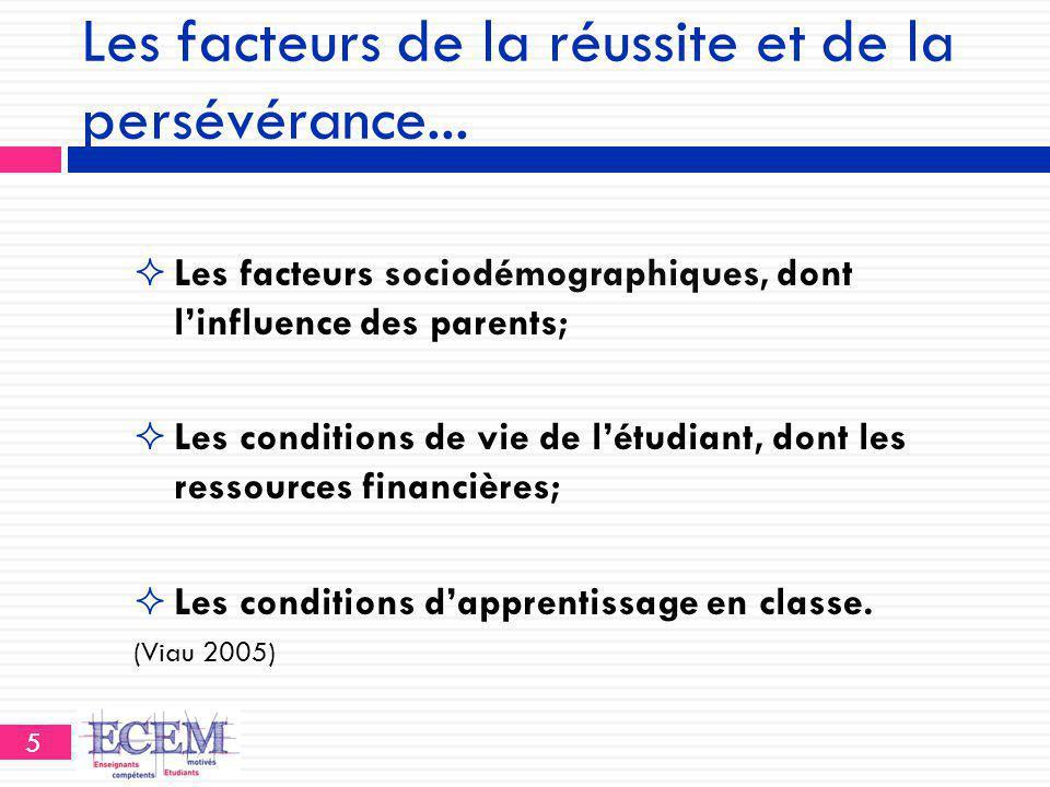 Les facteurs de la réussite et de la persévérance...  Les facteurs sociodémographiques, dont l'influence des parents;  Les conditions de vie de l'ét