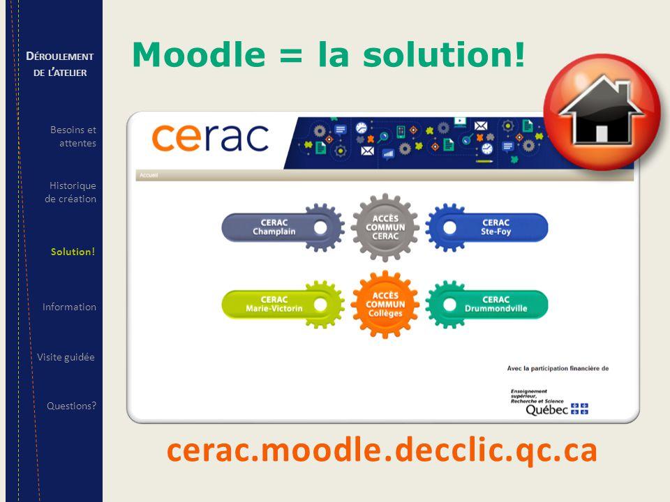 LE SALONLES CHAMBRES L'accès 4 CERAC (20 personnes) 48 cégeps (60 CP RAC) 1 CERAC = 1 chambre (3-6 personnes) 10-15 cégeps-associés/CERAC (10-20 personnes) Informations accessibles Documentation ministérielle (documents officiels); Documentation approuvée par les 4 CERAC; Modèle de service; Veille stratégique; Contacts – tableaux des coordonnées des CP RAC des 48 cégeps/4 CERAC; Forum de discussion – nouvelles générales, problème technique.