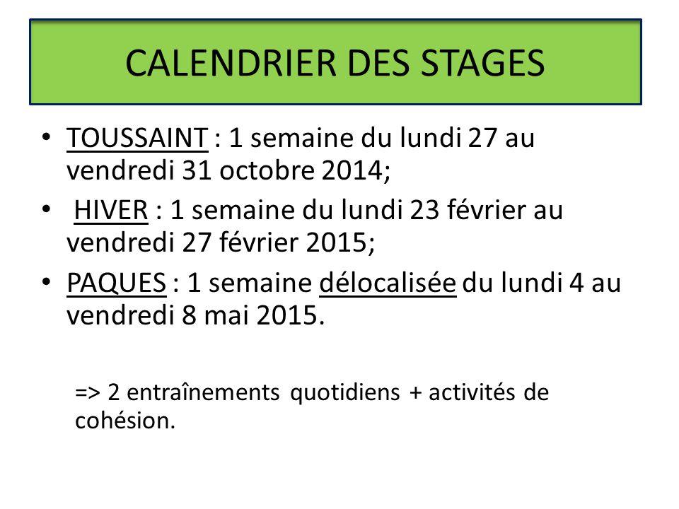 CALENDRIER DES STAGES TOUSSAINT : 1 semaine du lundi 27 au vendredi 31 octobre 2014; HIVER : 1 semaine du lundi 23 février au vendredi 27 février 2015