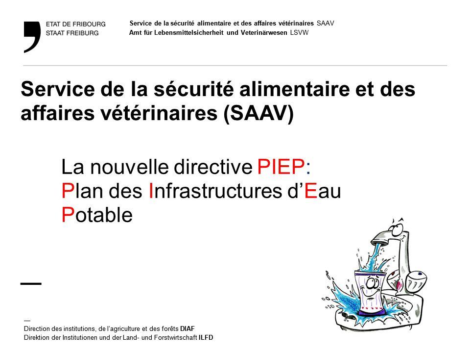 Service de la sécurité alimentaire et des affaires vétérinaires SAAV Amt für Lebensmittelsicherheit und Veterinärwesen LSVW — Direction des institutio