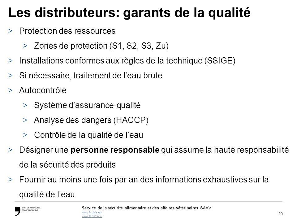 10 Service de la sécurité alimentaire et des affaires vétérinaires SAAV www.fr.ch/saav www.fr.ch/lsvw Les distributeurs: garants de la qualité >Protection des ressources >Zones de protection (S1, S2, S3, Zu) >Installations conformes aux règles de la technique (SSIGE) >Si nécessaire, traitement de l'eau brute >Autocontrôle >Système d'assurance-qualité >Analyse des dangers (HACCP) >Contrôle de la qualité de l'eau >Désigner une personne responsable qui assume la haute responsabilité de la sécurité des produits >Fournir au moins une fois par an des informations exhaustives sur la qualité de l'eau.