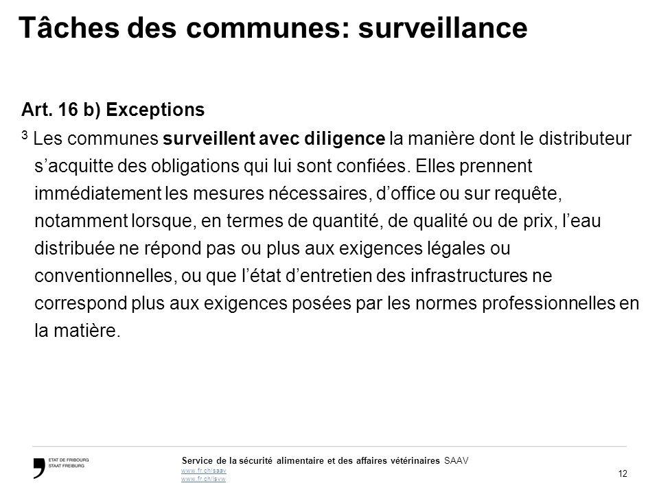 12 Service de la sécurité alimentaire et des affaires vétérinaires SAAV www.fr.ch/saav www.fr.ch/lsvw Tâches des communes: surveillance Art.