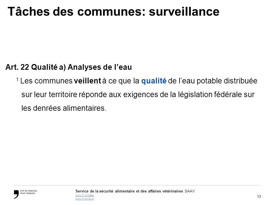 13 Service de la sécurité alimentaire et des affaires vétérinaires SAAV www.fr.ch/saav www.fr.ch/lsvw Tâches des communes: surveillance Art. 22 Qualit