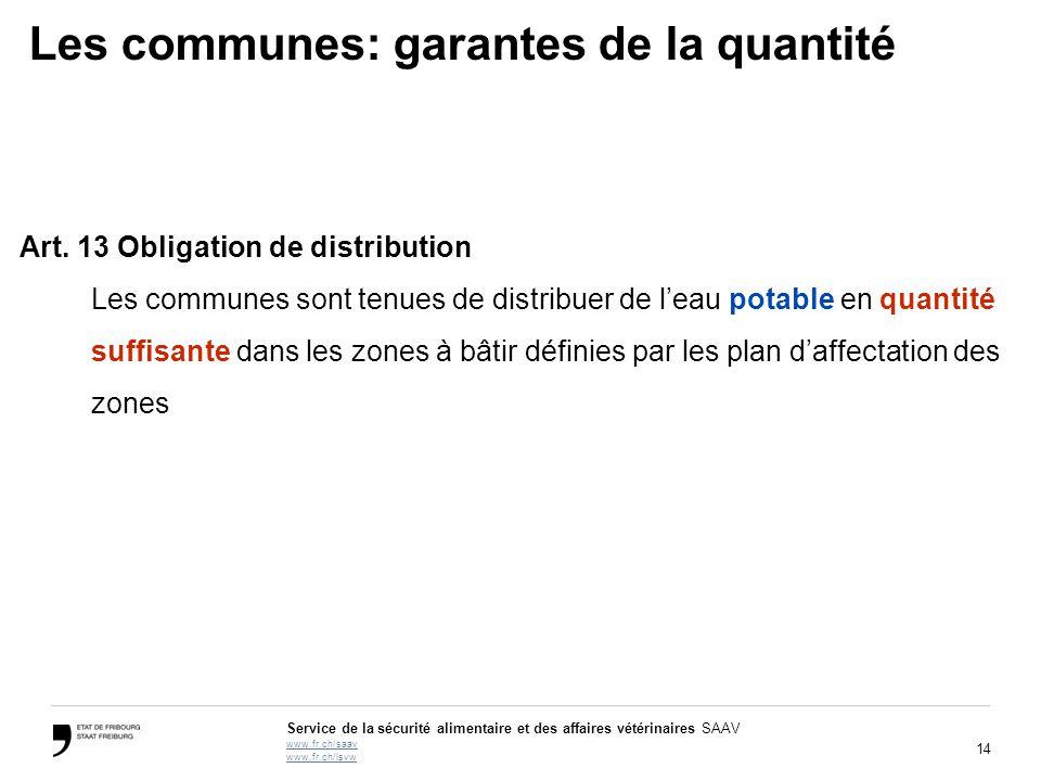 14 Service de la sécurité alimentaire et des affaires vétérinaires SAAV www.fr.ch/saav www.fr.ch/lsvw Les communes: garantes de la quantité Art.